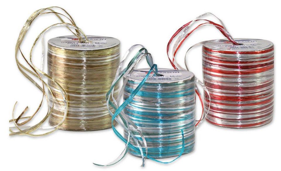 Präsent Geschenkbänder Raffia-Pearl Multicolour, 3 Spulen im Set, 150 m in bunt