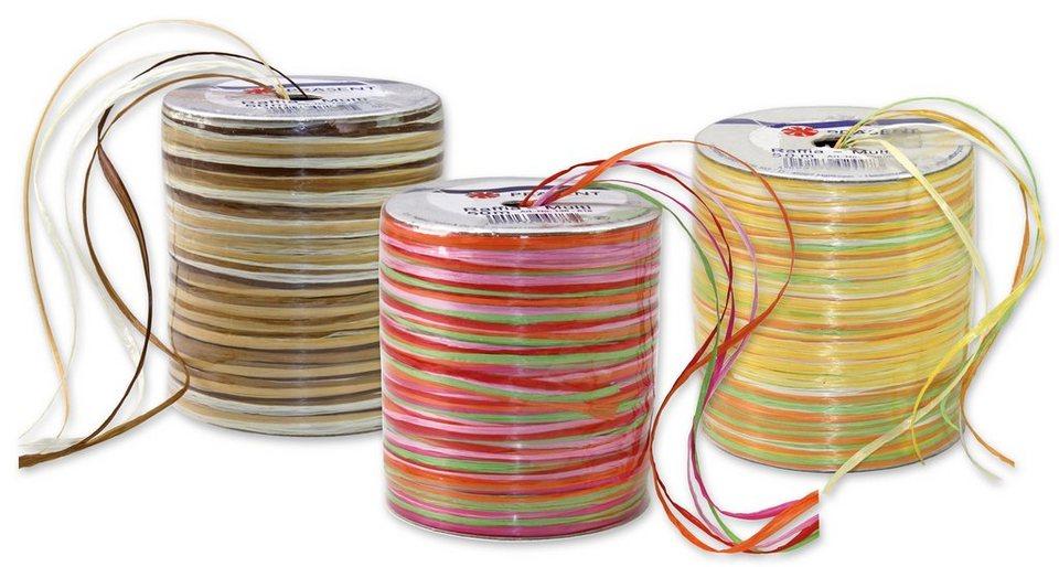 Präsent Geschenkbänder Raffia Multicolour, 3 Spulen im Set, 150 m in bunt