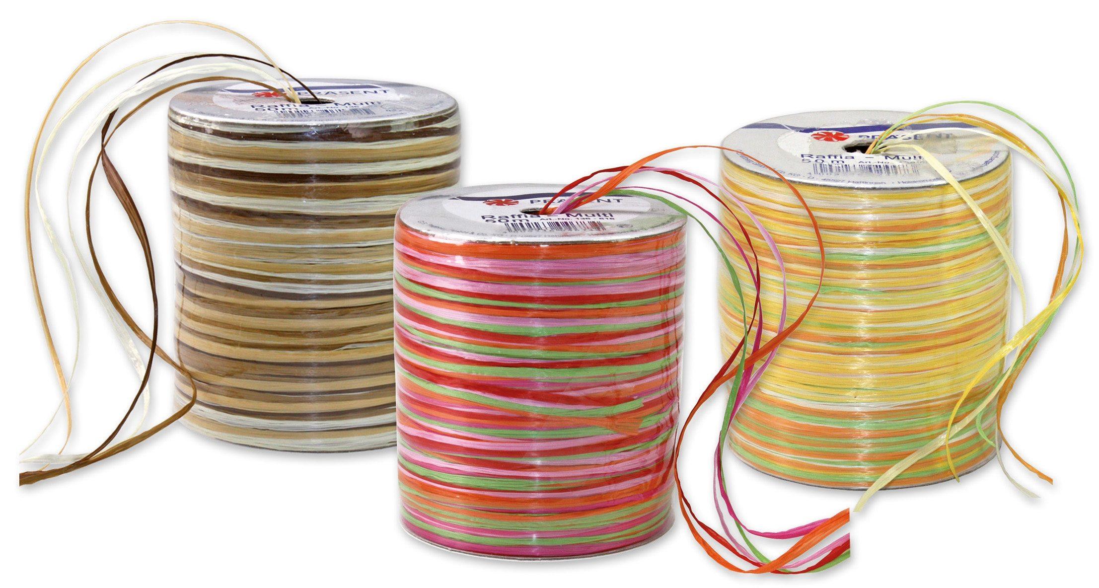 Präsent Geschenkbänder Raffia Multicolour, 3 Spulen im Set, 150 m