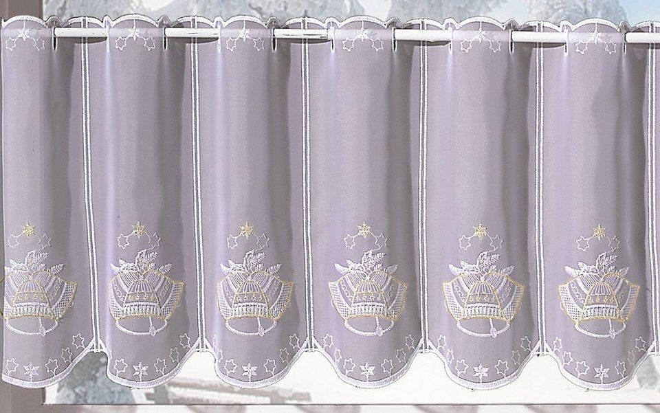 Scheibengardine, »Glocke«, veredelt mit echter Plauener Spitze Stickerei (1 Stück), Panneaux in weiß