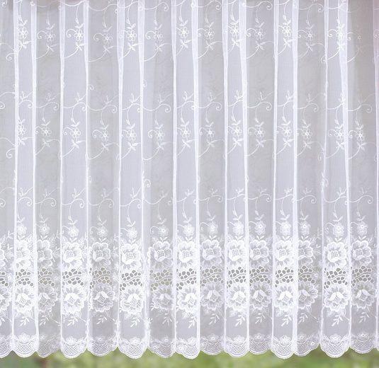 Gardine »Bianca«, Stickereien Plauen, Kräuselband (1 Stück), veredelt mit echter Plauener Spitze Stickerei