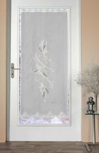 Türvorhang »Türstores Sterne«, Stickereien Plauen, Durchzuglöcher (1 Stück), HxB: 158x66, veredelt mit echter Plauener Spitze Stickerei