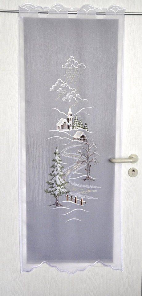 Türpanneaux, »Türstores Landschaft«, mit Durchzuglöchern, veredelt mit echter Plauener Spitze Stickerei (1 Stück) in weiß