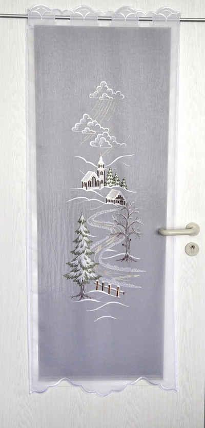 Türvorhang »Türstores Landschaft«, Stickereien Plauen, Durchzuglöcher (1 Stück), HxB: 160x60, veredelt mit echter Plauener Spitze Stickerei