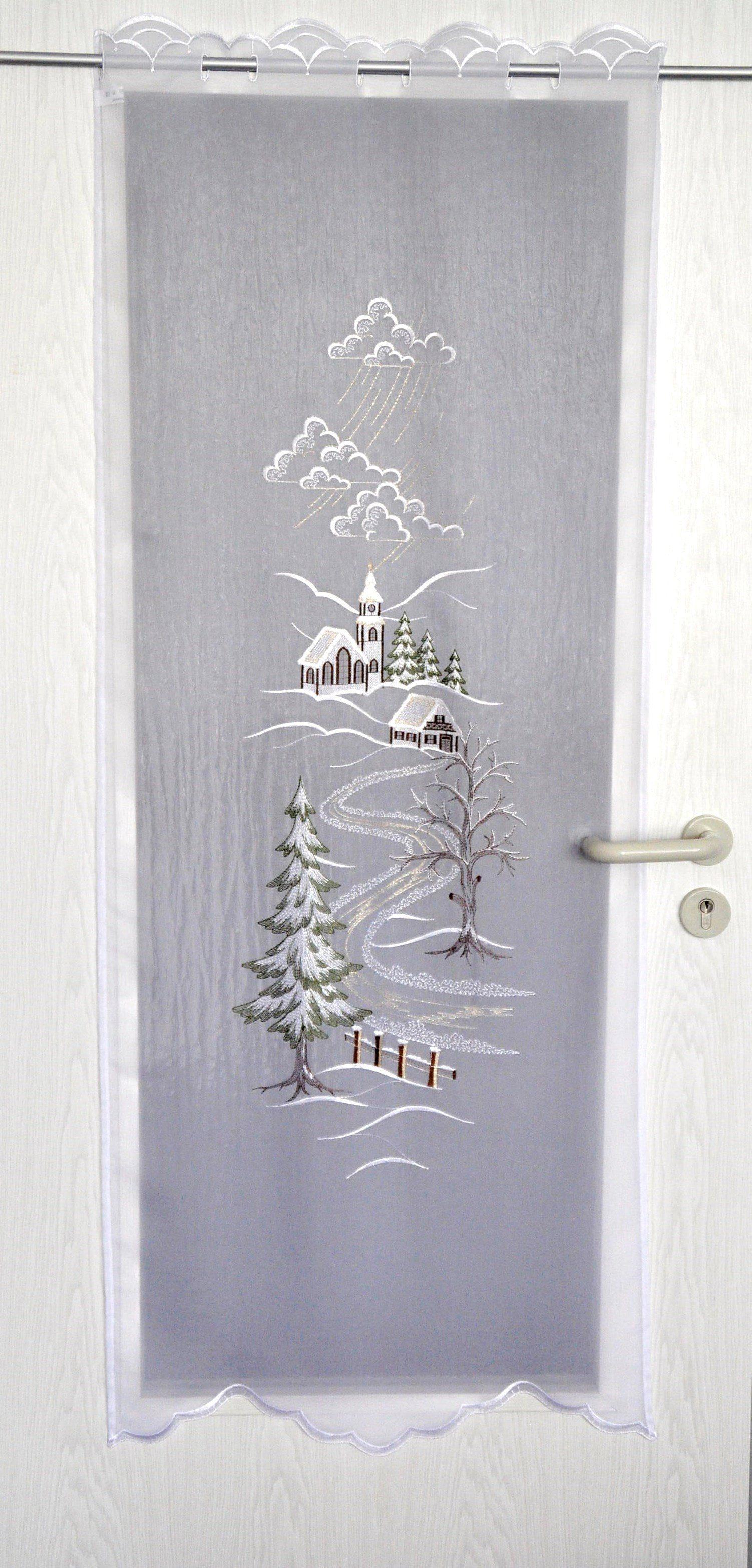 Türpanneaux, »Türstores Landschaft«, mit Durchzuglöchern, veredelt mit echter Plauener Spitze Stickerei (1 Stück)
