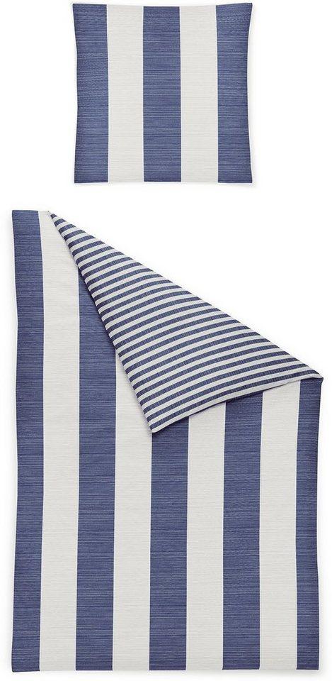 Bettwäsche, Irisette, »Piano 8771«, mit breiten Streifen in marine