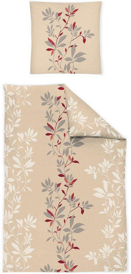Bettwäsche, Irisette, »Luna 8425«, mit Blätterranke in beige-rot