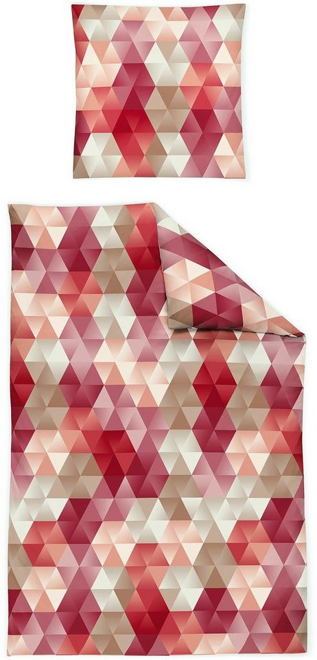 Bettwäsche, Irisette, »Capri 8406«, mit Dreiecken in rot