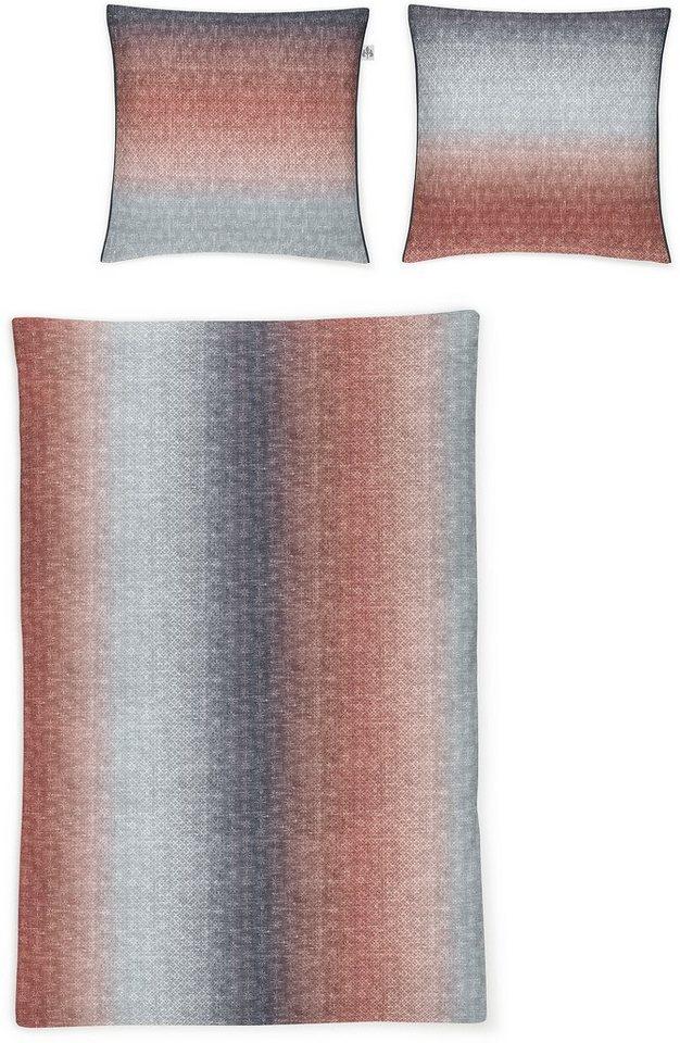 Bettwäsche, Irisette, »Nubis-K 8304«, mit Muster in rot-blau
