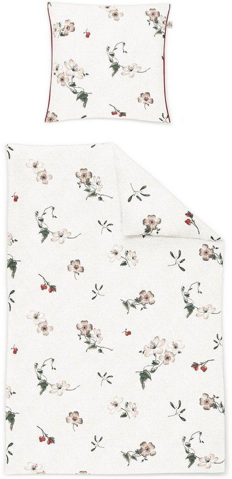 Bettwäsche, Irisette, »Capri 8416«, mit Blumen in beige