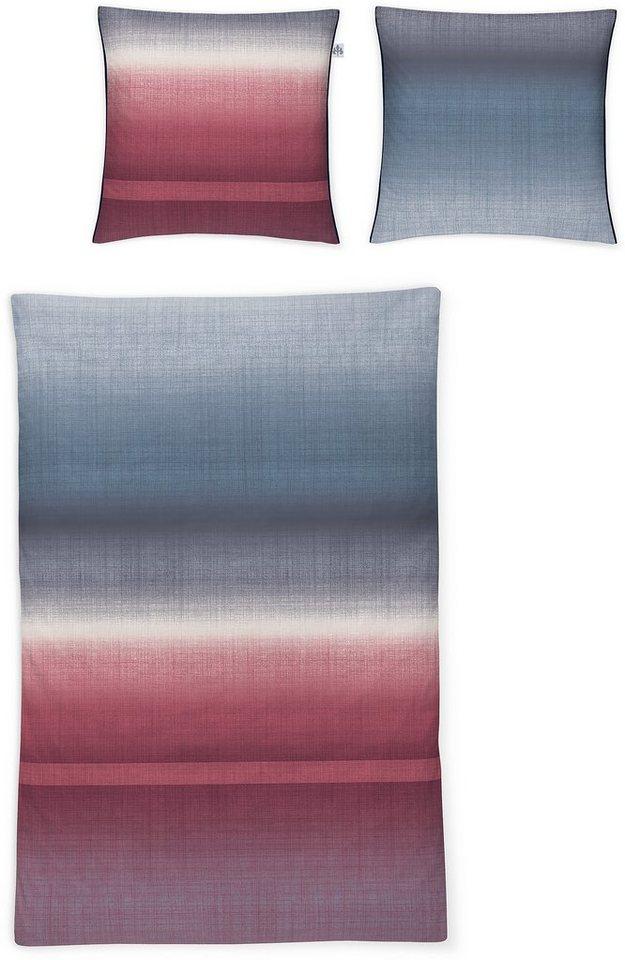 Bettwäsche, Irisette, »Capri 8414«, mit Farbverlauf in blau-rot