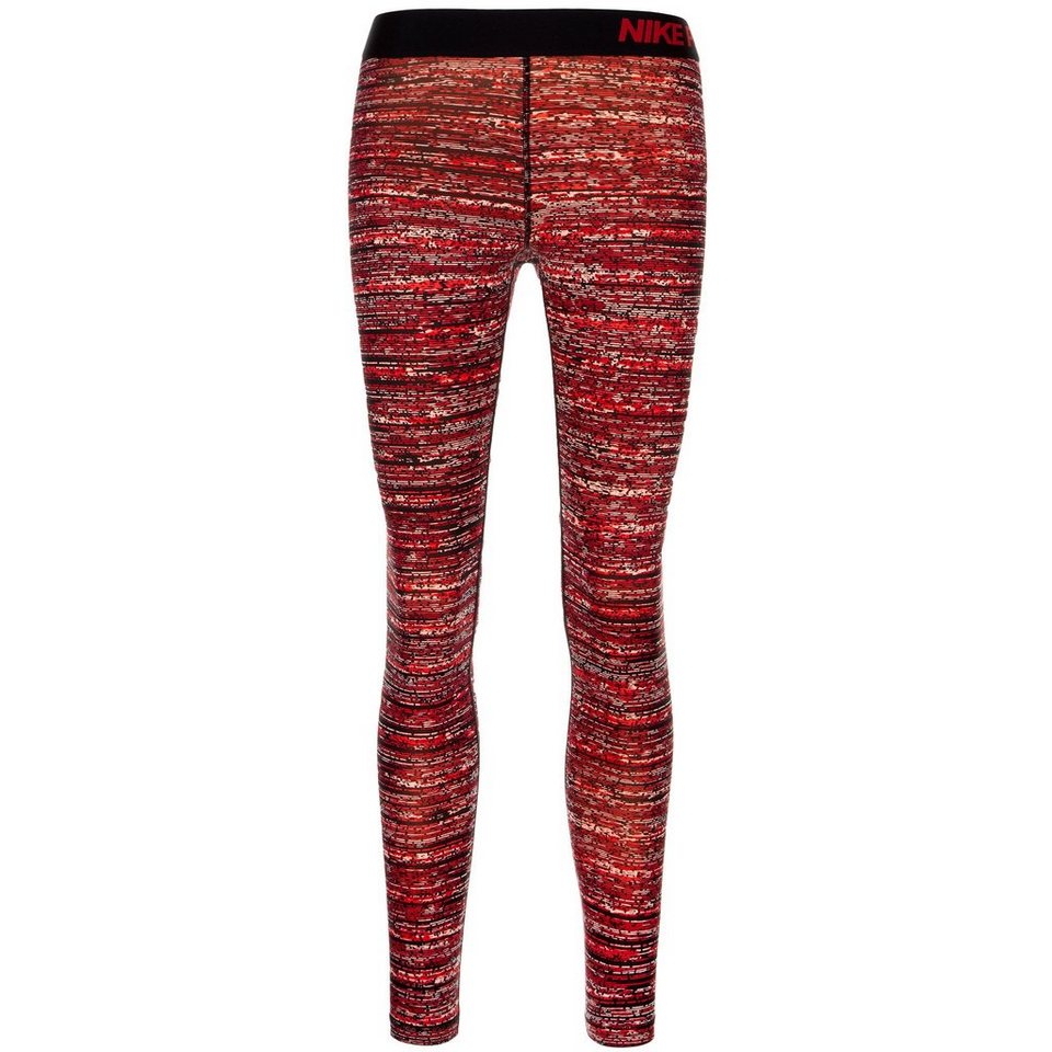 NIKE Pro Warm Static Trainingstight Damen in rot / schwarz