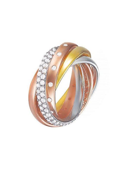 Esprit Ring, mit Zirkonia, »ESPRIT-JW50057 tricolor, ESRG02838D170-190« in tricolor