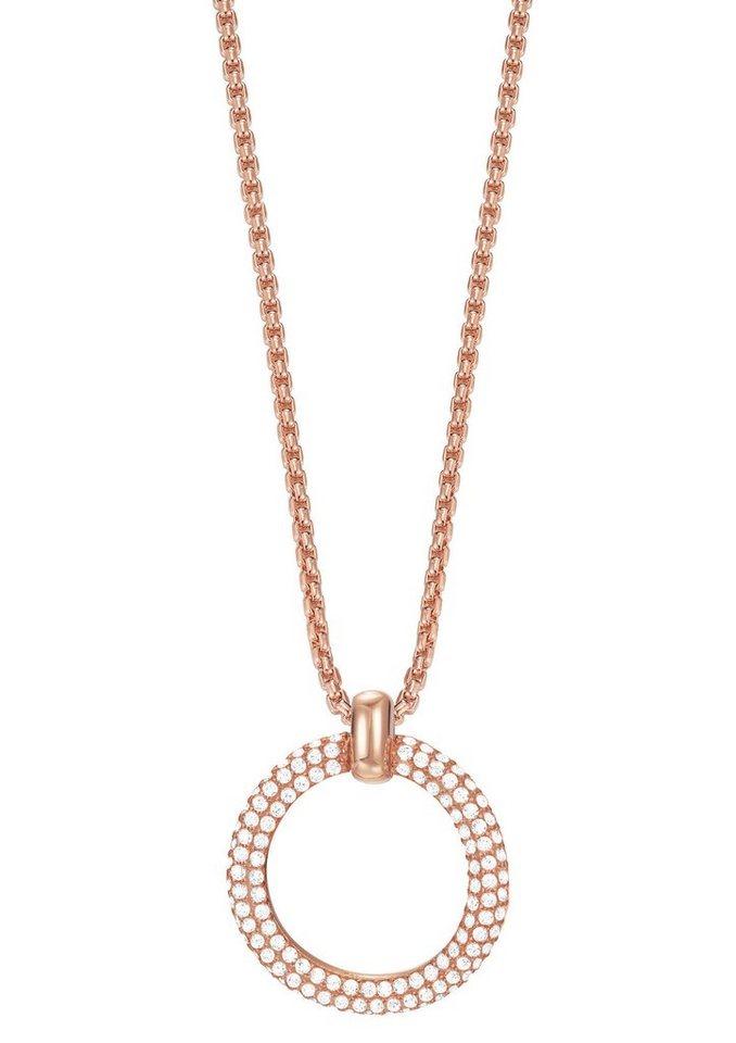 Esprit Halskette, mit Zirkonia, »ESPRIT-JW50059 rose, ESNL03009C420« in roségoldfarben