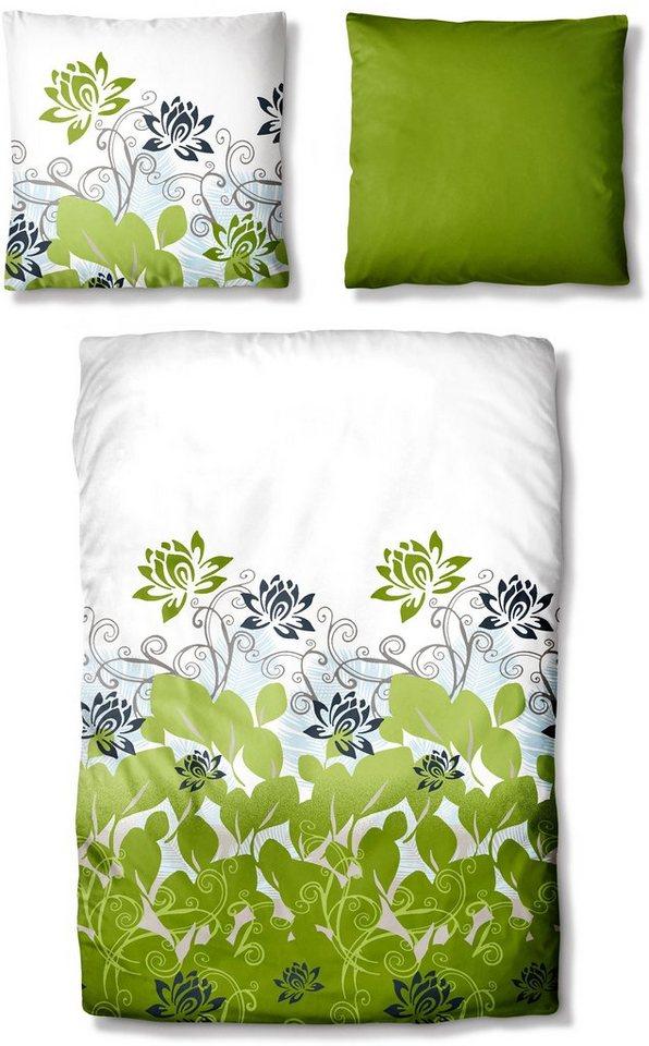 Bettwäsche, Auro Hometextile, »Ella«, mit Blumen in grün