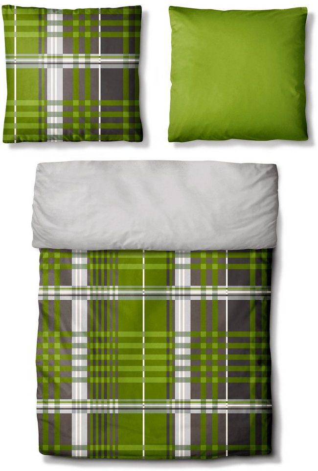 Bettwäsche, Auro Hometextile, »Farmers Inn«, mit unifarbener Wendeseite in grün