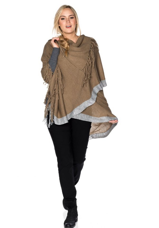 sheego Casual Poncho in camelfarben