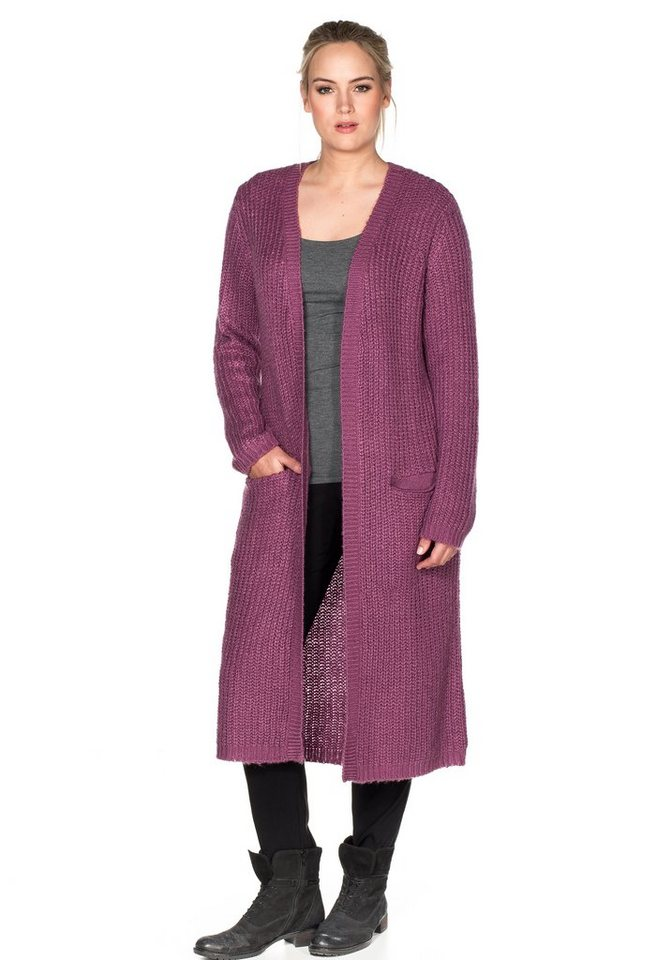 sheego Casual Longstrickjacke in purpur