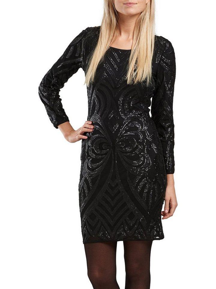 Only Pailletten- Kleid mit langen Ärmeln in Black