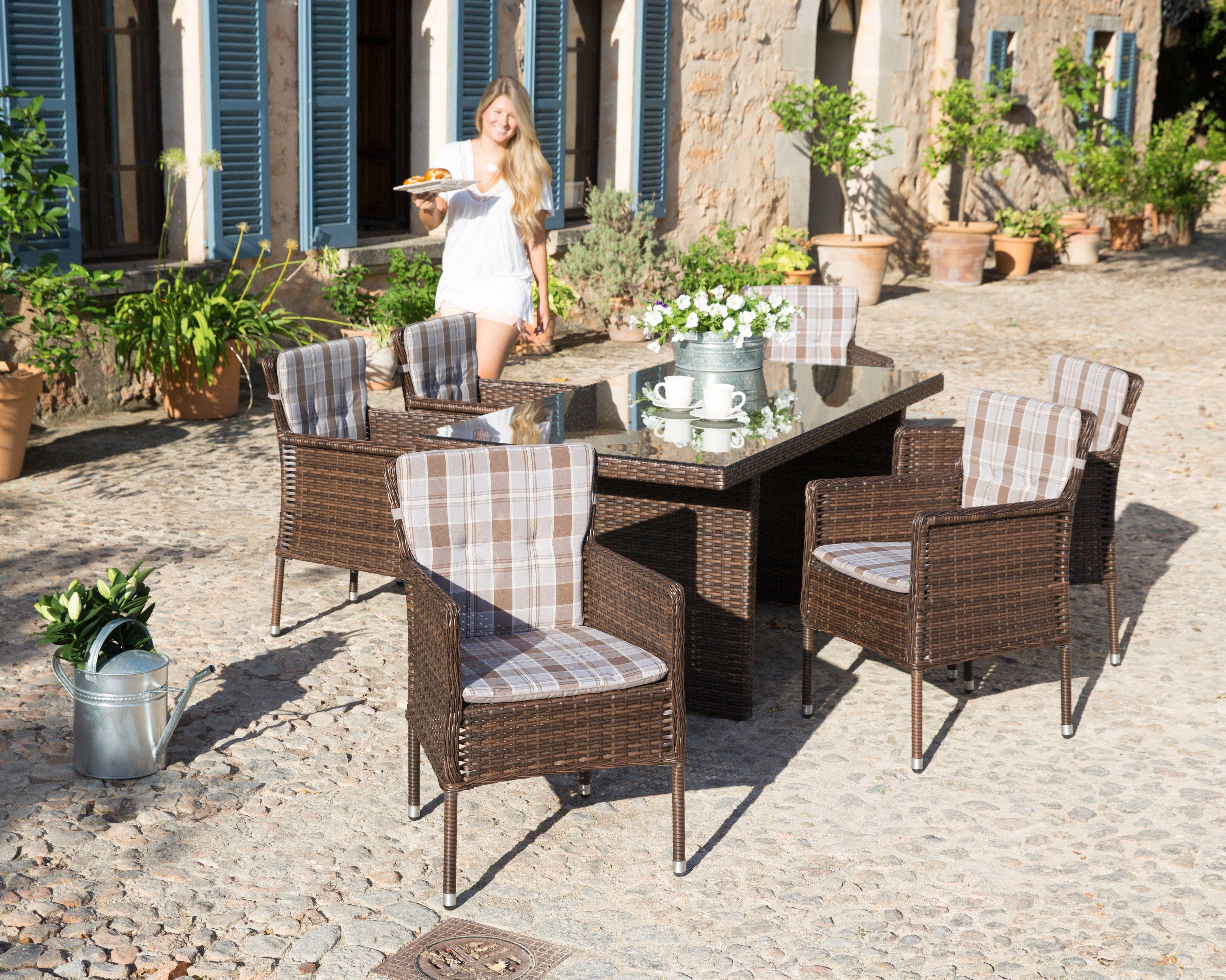 Gartenmöbelset »Malaga«, 6 Sessel, Tisch 180x90 cm, Polyrattan, braun