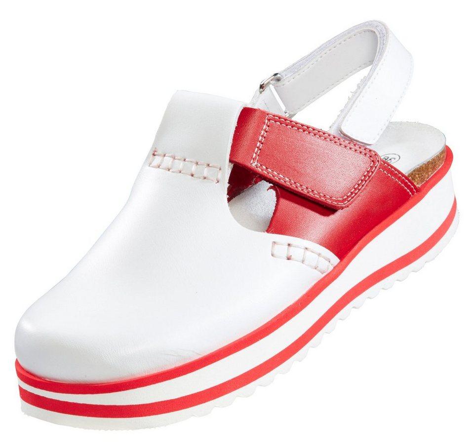 Damen-Plateau-Clog in rot/weiß