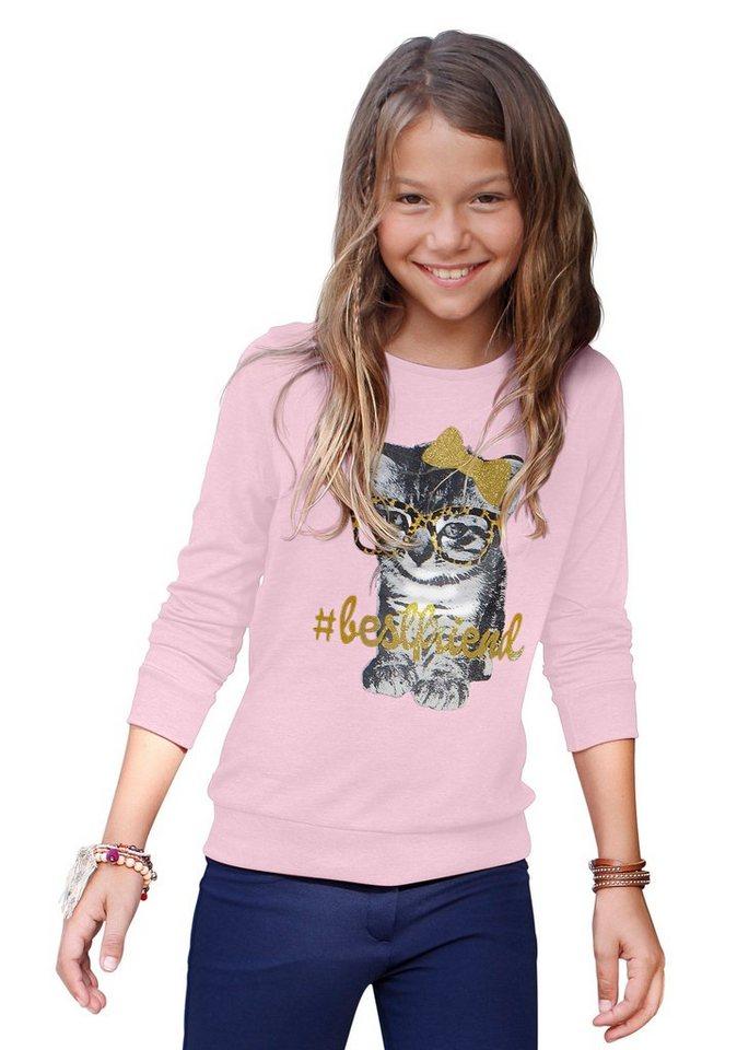 CFL Langarmshirt mit Katzenmotiv in rosa