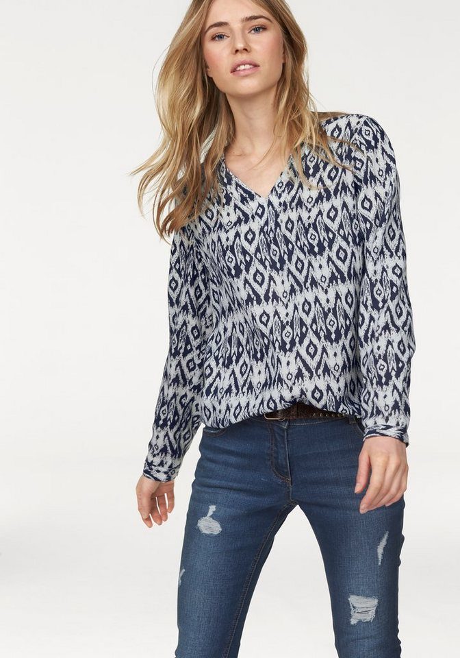 s.Oliver RED LABEL Longbluse Allover bedruckt in wollweiß-marine