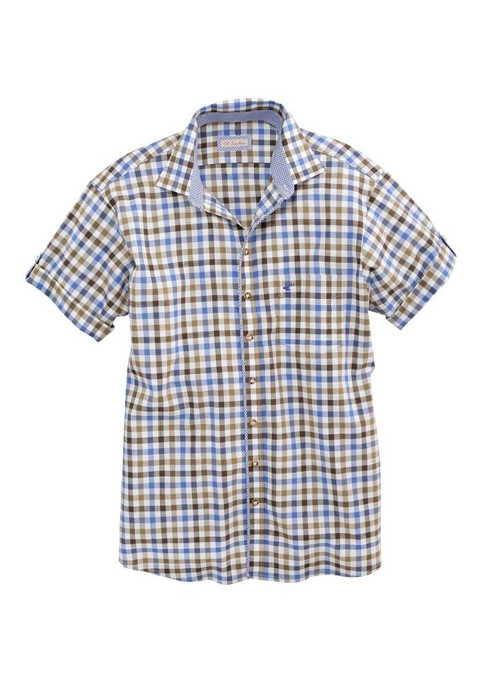 Trachtenhemd Herren kariert, OS-Trachten in hellblau