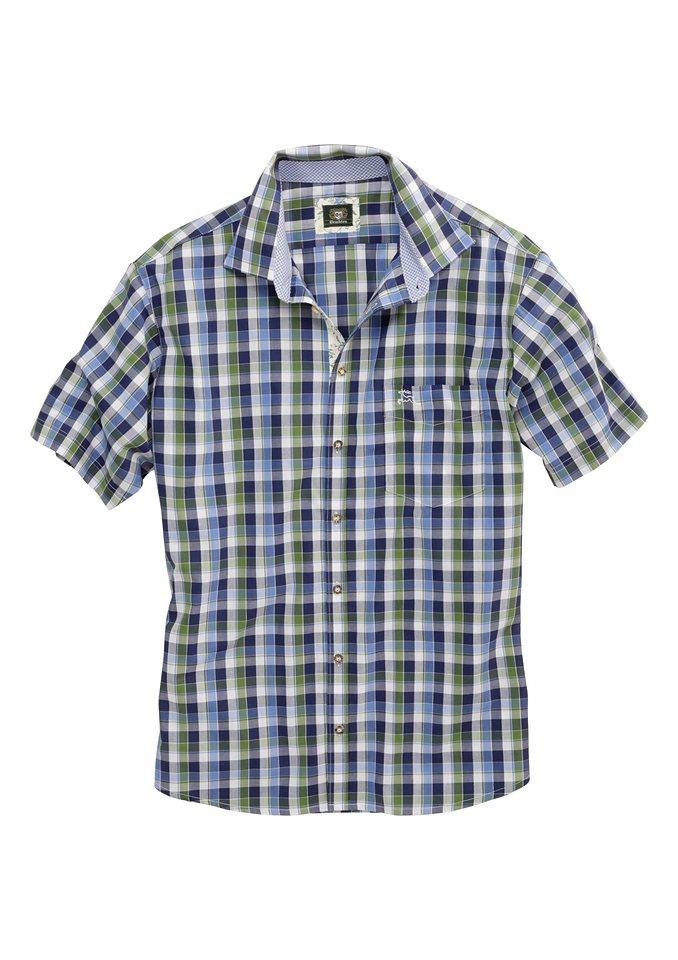 Trachtenhemd Herren kariert, OS-Trachten in blau/grün