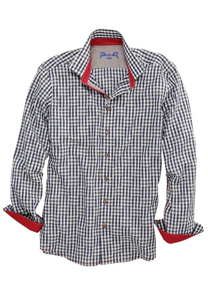 Trachtenhemd Herren mit Kontraststeppung, OS-Trachten in blau/weiss