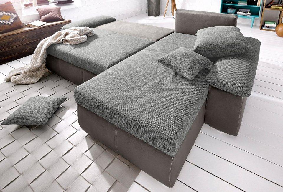 Polsterecke, inklusive Bettfunktion und Bettkasten in braun