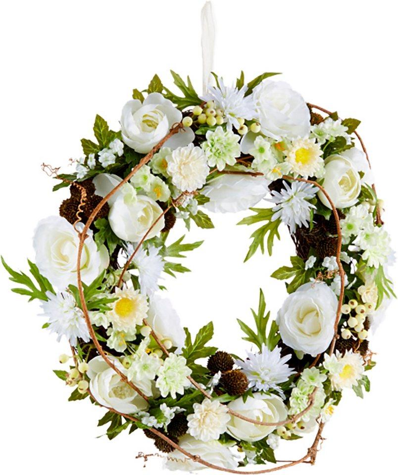 Home affaire Kunstblumen-Kranz »Blüten« in weiß
