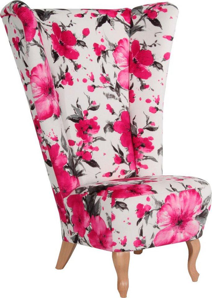 Max Winzer® Hochlehner Ohrensessel »Marilyn«, mit romantischem Blumenprint in Blüte pink