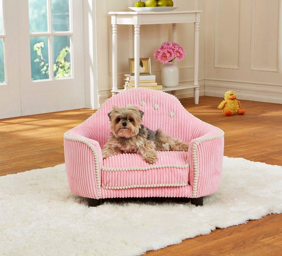 Home affaire Hundebett, in pinkem Cordsamt- Look in rosa