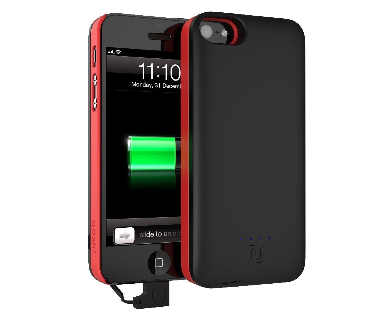 GOSH Schutzhülle mit Akku »Parallel 2500 mAh iPhone 5/5S Schwarz/Rot«