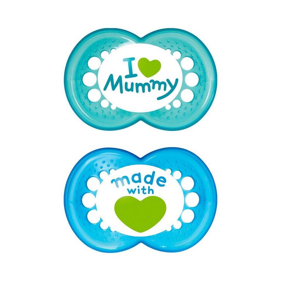 """MAM Schnuller """"I love Mummy"""" Silikon in blau"""