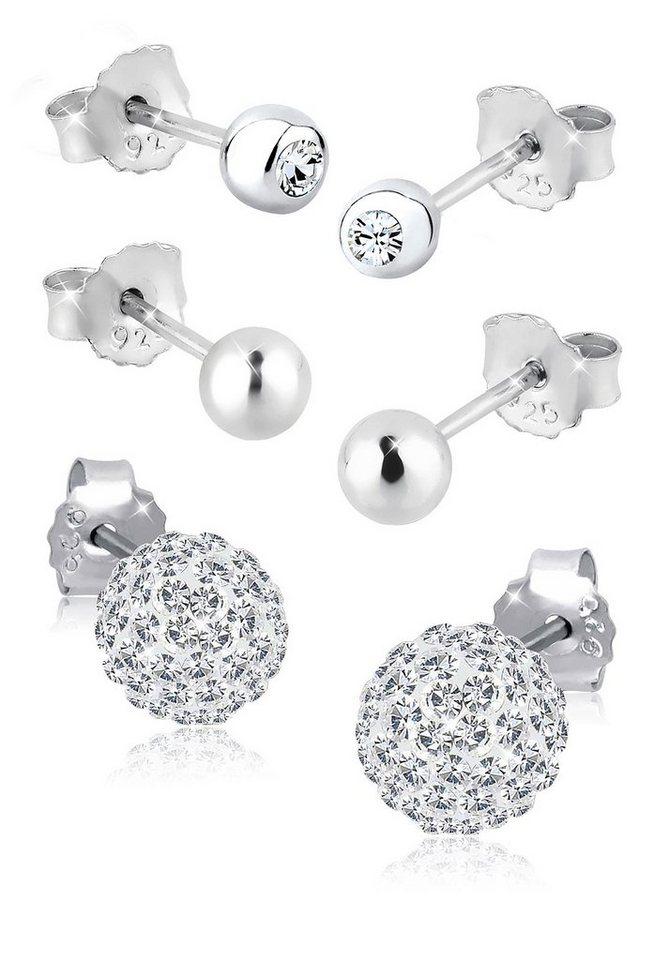 Elli Ohrstecker-Set »Allison, 0302782513« mit Swarovski® Kristallen (Set, 6 tlg.) in Silber 925-weiß