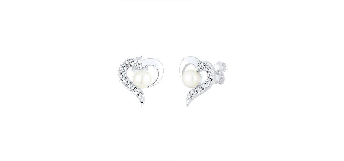 PERLU Paar Ohrstecker Herzen mit Süßwasserzuchtperlen, »Sari, 0311770713«