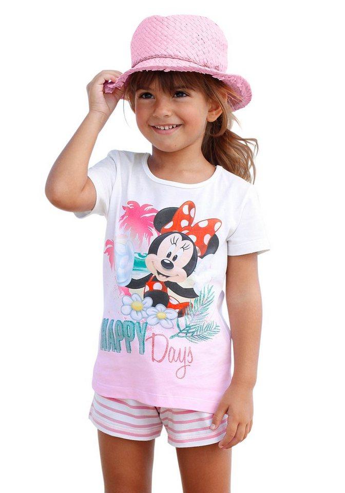 Disney Shirt & Hose mit Minnie Mouse Druck (Set, 2-tlg.), für Mädchen in Rosa-Bedruckt