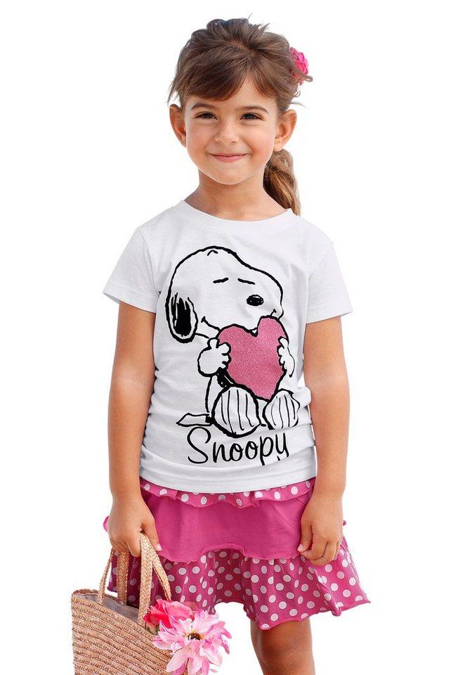 Snoopy Shirt & Rock mit Snoopy Druckmotiv (Set, 2-tlg.), für Mädchen in Weiß-Bedruckt