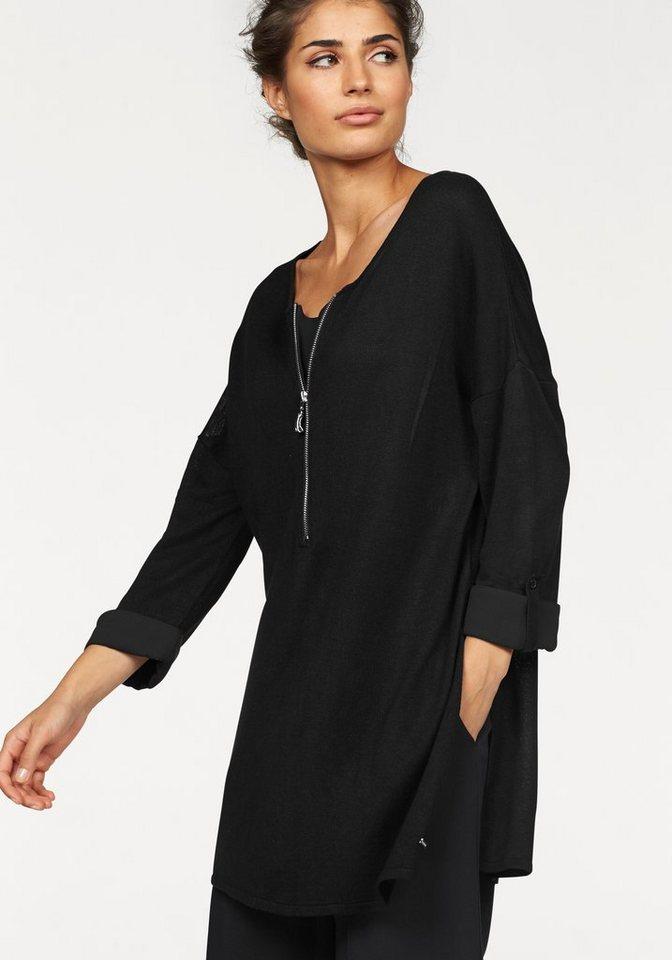 Bruno Banani 3/4 Arm-Pullover mit Seitenschlitzen in schwarz