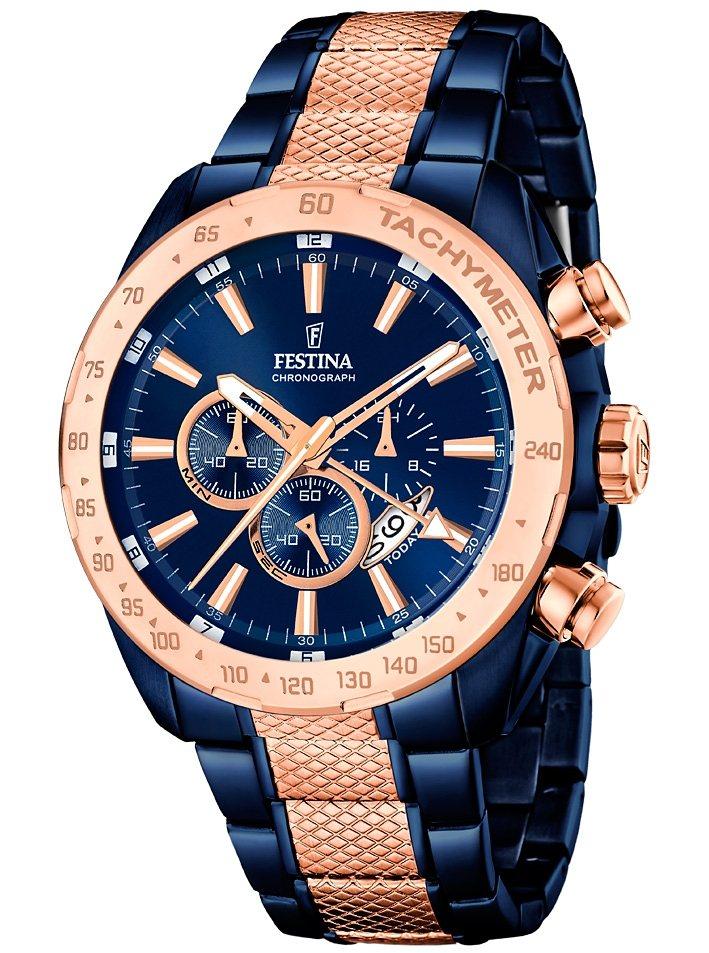 Festina Chronograph »F16886/1« mit Dualzeit in blau-roségoldfarben