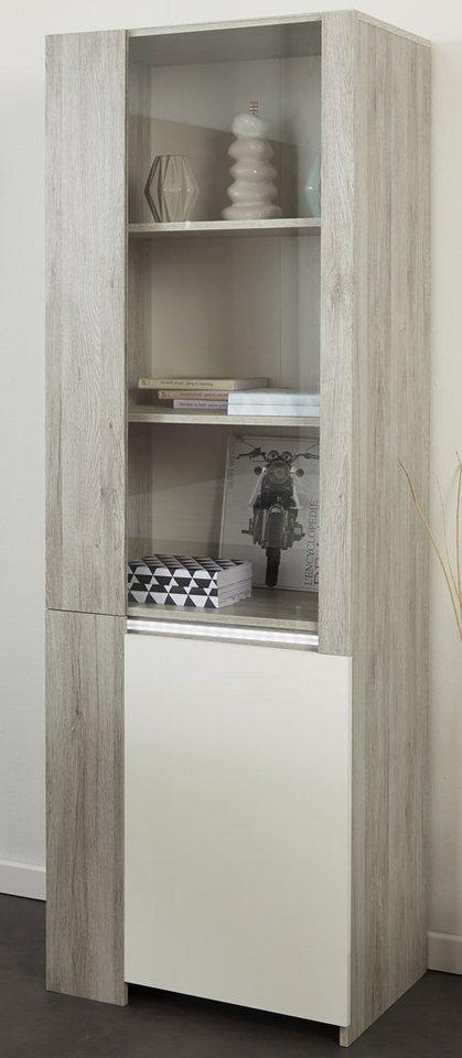 Parisot Vitrine, »Luneo«, Höhe 180 cm in eichefb. Portofino grey/weiß