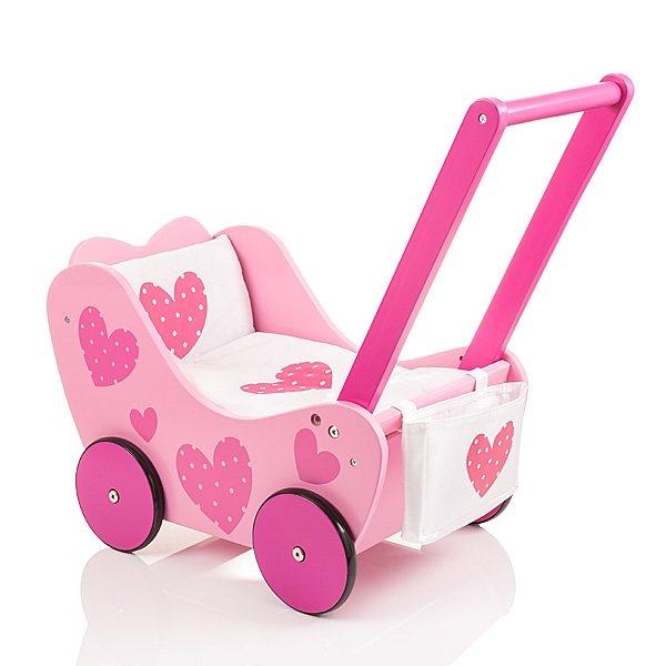 Sun, Holzpuppenwagen »Herzchen rosa« in pink