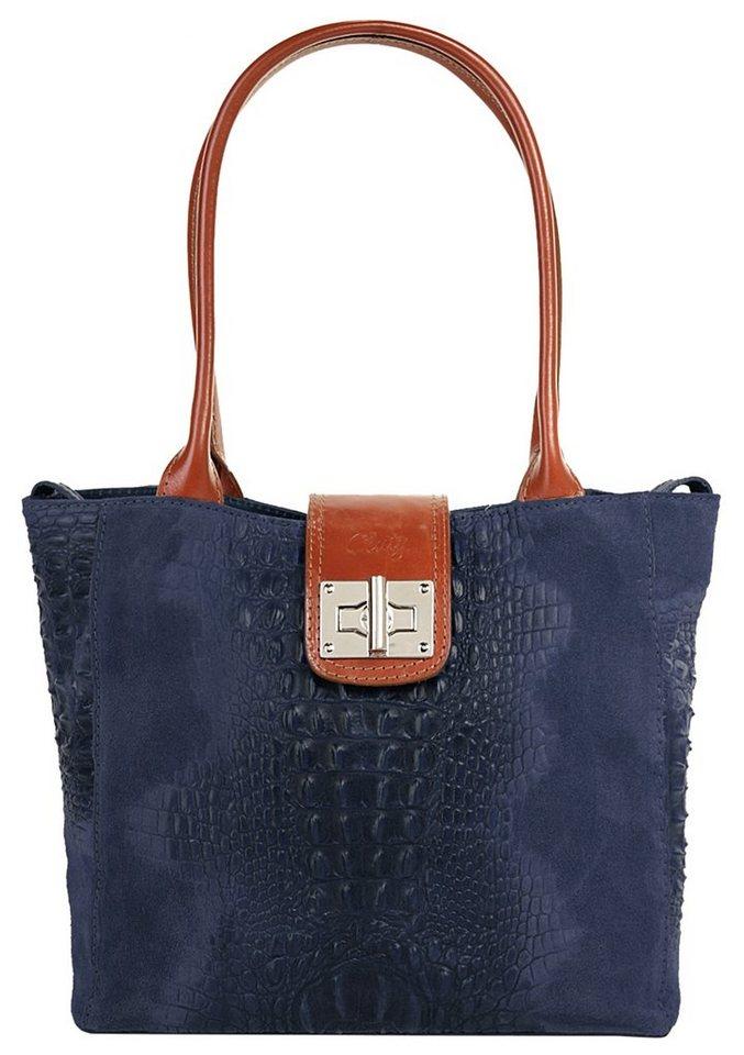 Cluty Leder Damen Handtasche in blau
