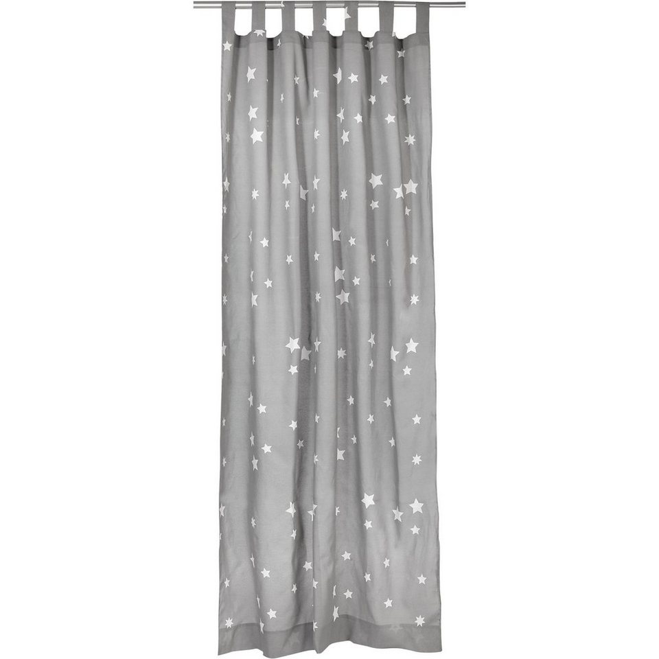 Vorhang Sterne, grau-weiß, 140 x 245 cm (2 Stück) in grau