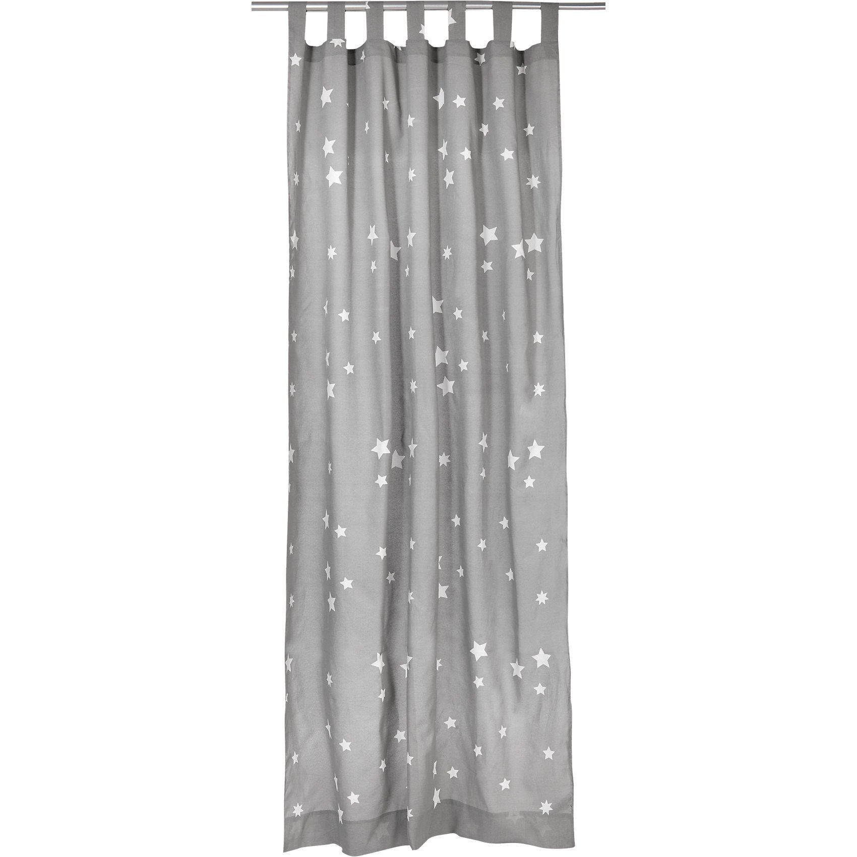 Vorhang Sterne inkl. Bügelband, grau-weiß, 140 x 245 cm (2 S