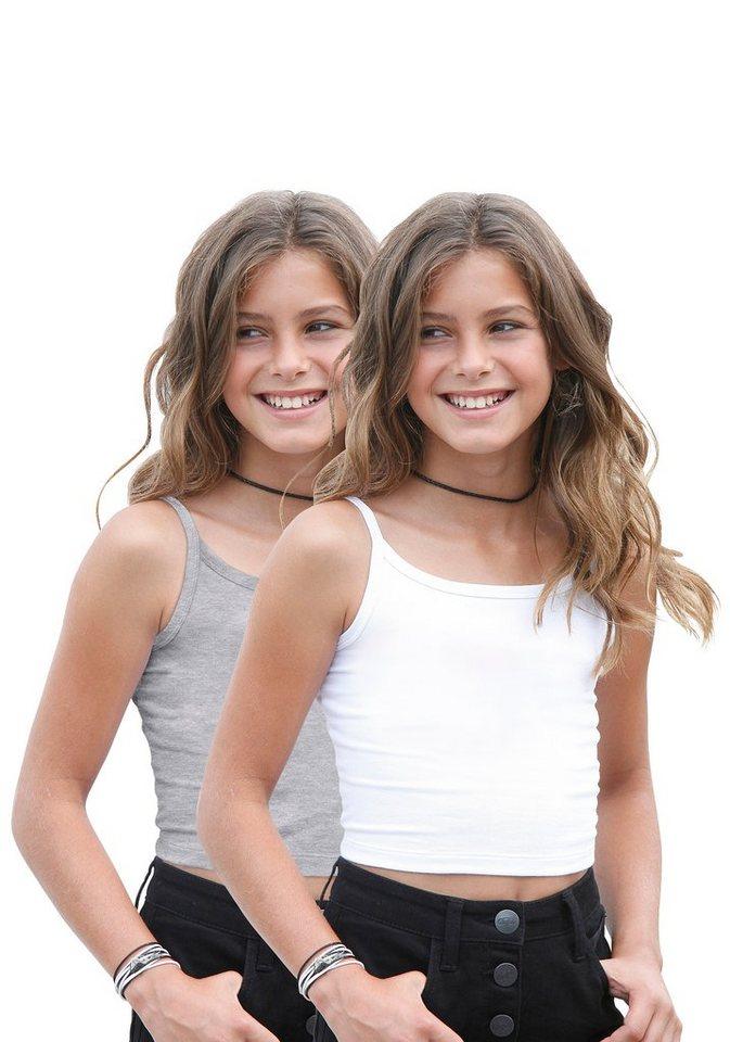 Arizona Trägertop (2 Stück), für Mädchen in Grau-Meliert-Weiß