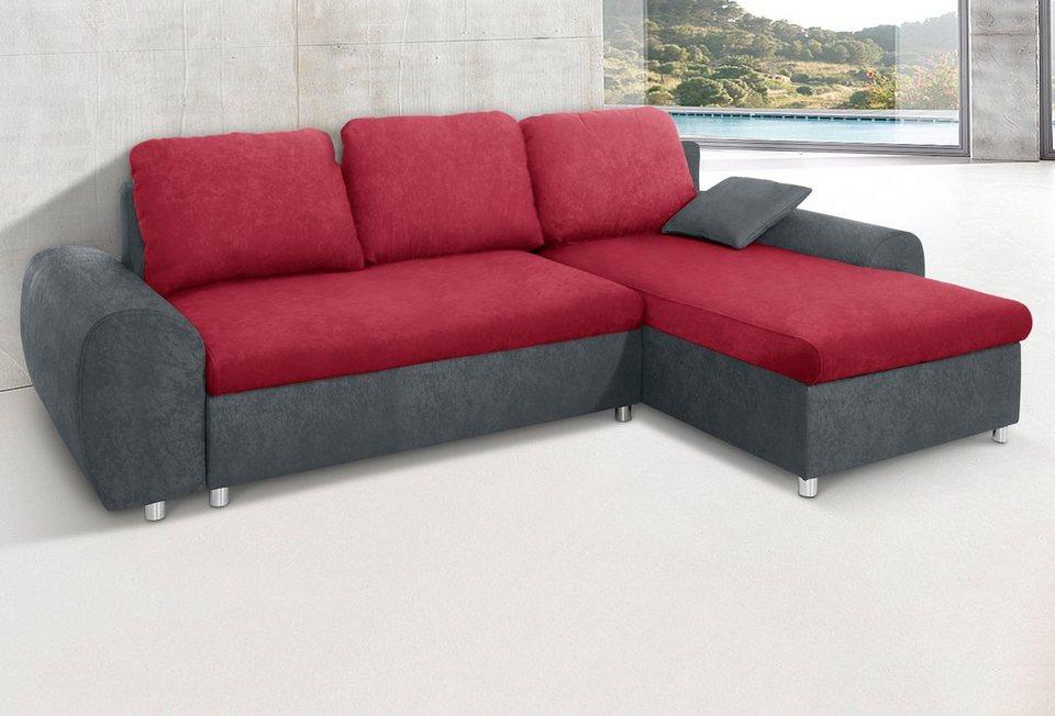 Sit & More Polsterecke, wahlweise mit Bettfunktion in dunkelgrau/bordeaux