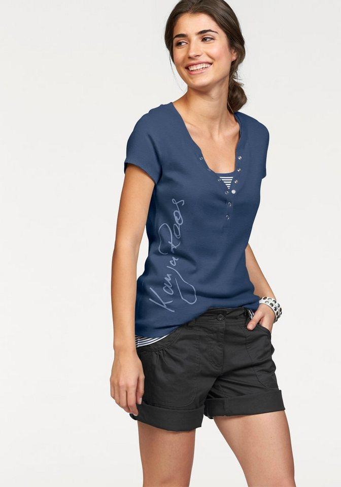 KangaROOS 2-in-1-Shirt mit seitlichem Labelprint in blau-weiß